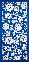"SALE! Large Oversize Soft Cotton Velour Blue Floral Print Beach Towel! 27"" x 54"""