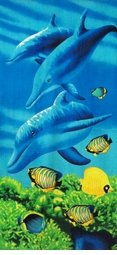 SOLD OUT!Large Oversize Soft Cotton Velour Dolphins Print Beach Towel!