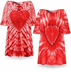SALE! Fiery Red Heart Tie Dye Plus Size T-Shirt  L XL 2x 3x 4x 5x 6x