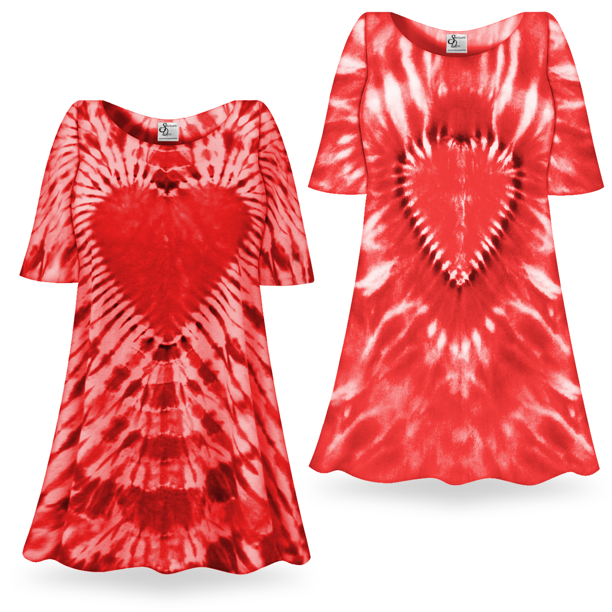 Sale Fiery Red Heart Tie Dye Supersize X Long Plus Size T