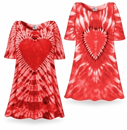 SALE! Fiery Red Heart Tie Dye Supersize X-Long Plus Size T-Shirt + Add Rhinestones 0x 1x 2x 3x 4x 5x 6x 8x 9x