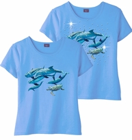 SOLD OUT! Five Swimming Dolphins & Add Rhinestuds Light Blue Round Neck Petite Plus Size T-Shirt 2x 3x