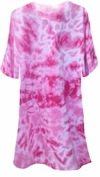 SALE! Fuchsia Hot Pink Tie Dye Plus Size T-Shirts 2x