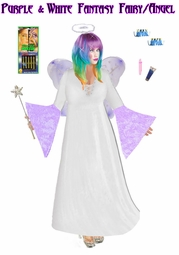 SALE! Full Plus Size & Supersize Purple & White Plus Size Fairy Angel Costume + Accessory Kit! Lg XL 1x 2x 3x 4x 5x 6x 7x 8x 9x