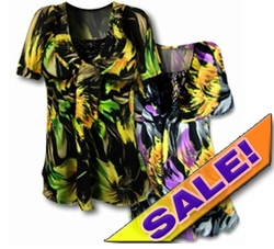 SOLD OUT!! SALE! Fun Green Print & Purple Print Colorful Slinky & Lacey Babydoll Plus Size Tops  4x 5x