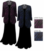SALE! Fuschia or Blue Streaks Plus Size & Supersize Sweater Duster Jacket 0x 1x 3x