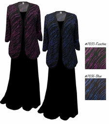 FINAL CLEARANCE SALE! Fuschia or Blue Streaks Plus Size & Supersize Sweater Duster Jacket 3x
