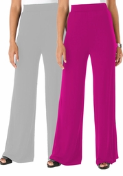 CLEARANCE! Fuschia or Gray Plus Size Wide Leg Palazzo Pants 4x