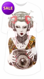 FINAL SALE! Geisha Girl Rocker Headphones Burnout Print Plus Size Long T-Shirt M L XL