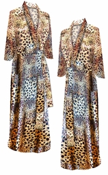 SALE! Gold Leopard Spots Embossed Print Plus Size & Supersize Robe 1x