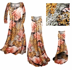 CLEARANCE! Gold & Salmon Fancy Print With Shiny Silver Metallic Print Slinky Plus Size & Supersize Princess Cut Dresses 0x