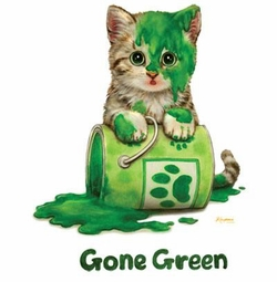 "SALE! ""Gone Green"" Kitty and Green Paint Plus Size & Supersize T-Shirts S M L XL 2xl 3xl 4x 5x 6x 7x 8x (Lights Only)"