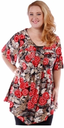 SOLD OUT! SALE! Gorgeous Black & Red Roses Plus Size Slinky Top 4x 5x 6x