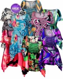 SALE! Gorgeous Solid Color or Print Colorful Slinky Print Supersize & Plus Size Babydoll Tops 0x