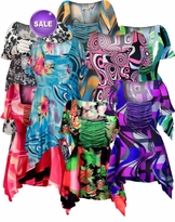 CLEARANCE! Gorgeous Solid Color or Print Colorful Slinky Print Supersize & Plus Size Babydoll Tops 0x