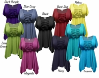 FINAL CLEARANCE SALE! Gorgeous Colorful Slinky Solid Colors Supersize & Plus Size Babydoll Tops 0x 1x 2x