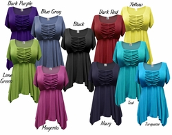 CLEARANCE! Gorgeous Colorful Slinky Solid Colors Supersize & Plus Size Babydoll Tops 0x 1x 2x