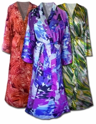 SOLD OUT! SALE!!! Gorgeous Green, Purple or Orange Print Satin Plus Size Supersize Robes 6x