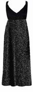 SOLD OUT! Gorgeous Onyx Black Glimmer Plus Size Slinky Black Empire Waist Dress