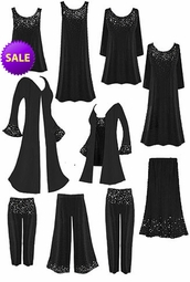 SALE! Gorgeous Slinky or Velvet  Rhinestud Starry Night Plus Size A-Line & Princess Cut Dresses, Tops, Tanks, Pants, and Duster Jackets