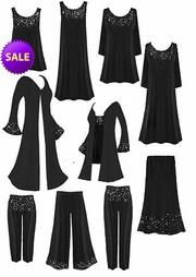 CLEARANCE! Gorgeous Slinky or Velvet  Rhinestud Starry Night Plus Size A-Line & Princess Cut Dresses, Tops, Tanks, Pants, and Duster Jackets