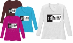 SALE! Got Faith V Neck / Round Neck Long Sleeve Plus Size Shirt White Teal Raspberry Brown Teal Lime Wine 4x 5x