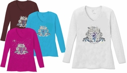 SALE! Gothic Crest Dragon V Neck / Round Neck Long Sleeve Plus Size Shirt White Teal Raspberry Brown Teal Lime Wine 4x 5x