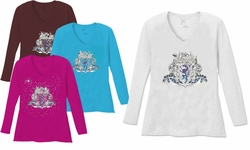 SALE! Gothic Crest Dragon V Neck / Round Neck Long Sleeve Plus Size Shirt Brown Purple 5x