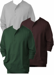 SOLD OUT! Gray, Hunter Green, or Coffee Brown Heavy Weight Plus Size Henley Long Sleeve Shirt