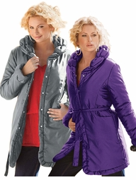 SOLD OUT! CLEARANCE! Gray or Purple Puffy Collar Plus Size Jacket 3x