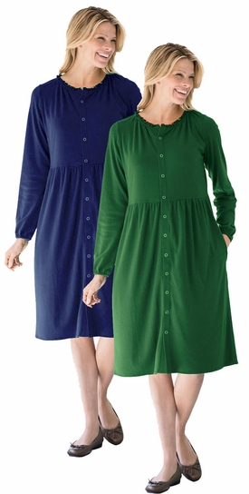 Sale Navy Or Green Snap Front Long Sleeve Plus Size Dress 5x