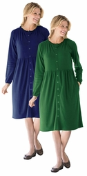 SALE! Navy Or Green Snap-Front Long Sleeve Plus Size Dress 5x