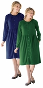 SALE! Navy Or Green Snap-Front Long Sleeve Plus Size Dress 5x 6x