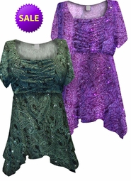 SOLD OUT! SALE! Green or Purple Paisley Glitter Formal Slinky Print Supersize & Plus Size Babydoll Tops 2x 3x