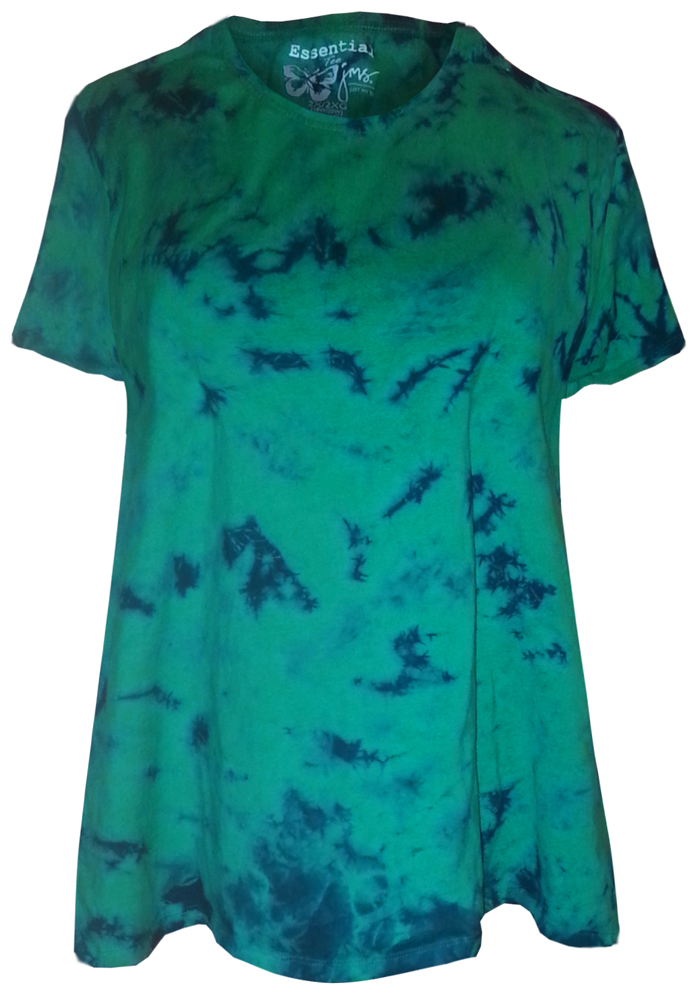 sale green with navy tie dye round neck plus size t shirt