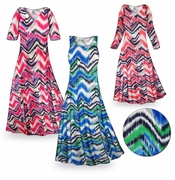 CLEARANCE! Groovy Zig Zags Slinky Print Plus Size & Supersize Standard or Cascading A-Line or Princess Cut Shirt 4x