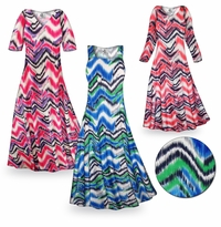 CLEARANCE! Groovy Zig Zags Slinky Print Plus Size & Supersize Standard or Cascading A-Line or Princess Cut Shirt 1x