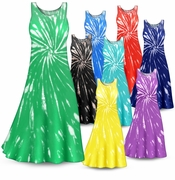 SOLD OUT! CLEARANCE! Handcrafted Swirl Tie Dye Plus Size & Supersize Princess Cut Tank Dress 7x