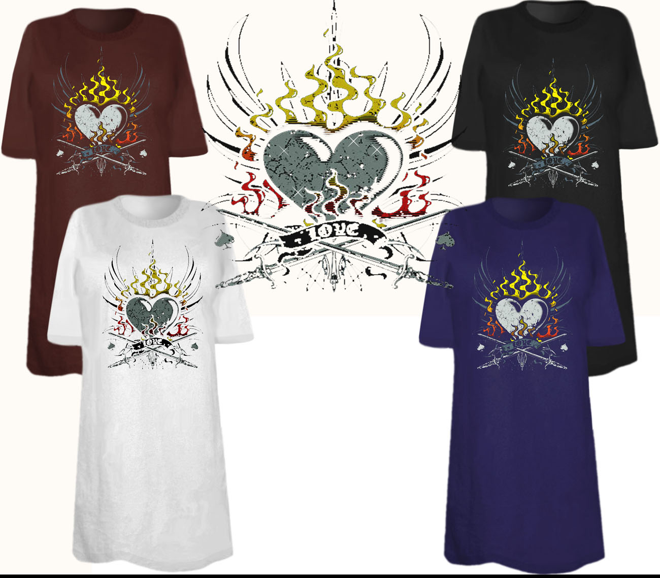 Sale heart on fire tattoo plus size supersize t shirts for 3x shirts on sale