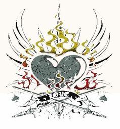 SALE! Heart On Fire Tattoo Plus Size & Supersize T-Shirts S M L XL 2x 3x 4x 5x 6x 7x 8x (All Colors)
