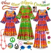 CLEARANCE! Heat Wave Print Plus Size Hippie Costume - 60's Style Retro Dress or Top & Wide-Bottom Pant Set Plus Size & Supersize Halloween Costume Kit 0x 2x 3x 4x 5x