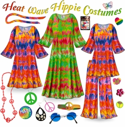 FINAL CLEARANCE SALE! Heat Wave Print Plus Size Hippie Costume - 60's Style Retro Dress or Top & Wide-Bottom Pant Set Plus Size & Supersize Halloween Costume Kit 2x
