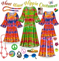 CLEARANCE! Heat Wave Print Plus Size Hippie Costume - 60�s Style Retro Dress or Top & Wide-Bottom Pant Set Plus Size & Supersize Halloween Costume Kit 0x 2x 3x 4x 5x