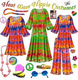 SOLD OUT! SALE! Heat Wave Print Plus Size Hippie Costume - 60's Style Retro Dress or Top & Wide-Bottom Pant Set Plus Size & Supersize Halloween Costume Kit Lg XL 0x 1x 2x 3x 4x 5x 6x 7x 8x 9x