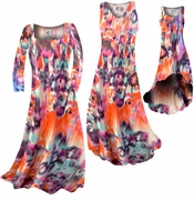 SOLD OUT! Hot Orange Blur Print Slinky Plus Size & Supersize Standard A-Line Dresses