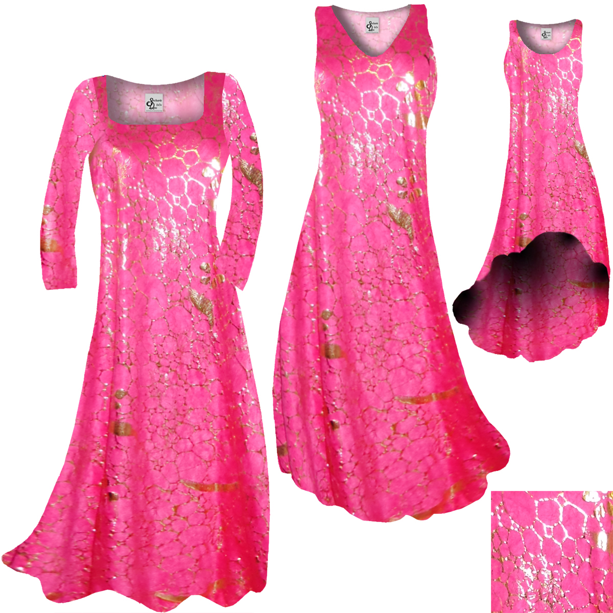 Sold Out Hot Pink Gold Metallic Shiny Slinky Print Plus Size