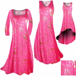 SOLD OUT! Hot Pink & Gold Metallic Shiny Slinky Print Plus Size & Supersize Dress