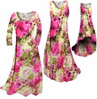 CLEARANCE! Hot Pink & Olive Green Tie Dye Slinky Print Plus Size  A-Line Dresses 0x 1x
