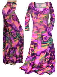 CLEARANCE! Hot Pink, Orange and Purple Wild Print Slinky Plus Size & Supersize Dresses & Tops 0x 3x