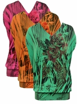 SOLD OUT! Just Reduced! Tangerine Floral Tropical Sublimation Slinky Plus Size Shirts 4x